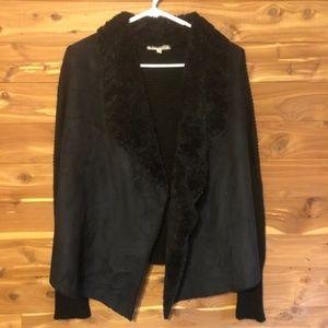 Joan Vass Sweaters - Joan Vass Fur Suede Vest Cardigan Black Small